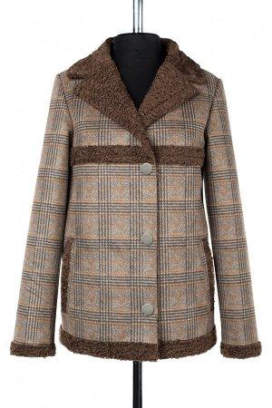 02-2782 Пальто женское утепленное Эко-дубленка коричневый