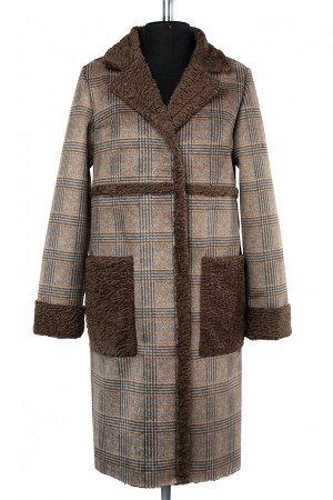 02-2533 Пальто женское утепленное Эко-дубленка коричневый