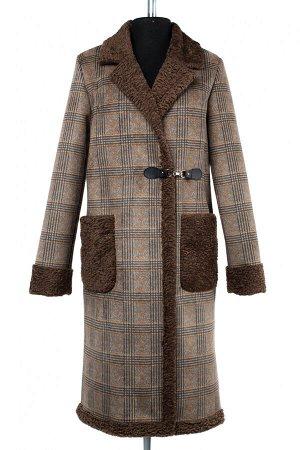 02-2531 Пальто женское утепленное Эко-дубленка коричневый