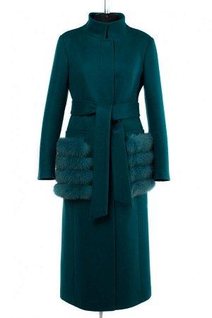 02-2851 Пальто женское утепленное (пояс) валяная шерсть Изумруд