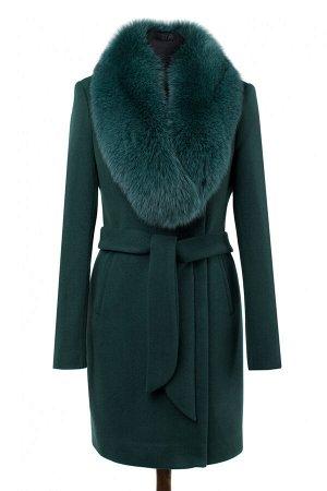 02-2525 Пальто женское утепленное (пояс) Пальтовая ткань темно-зеленый