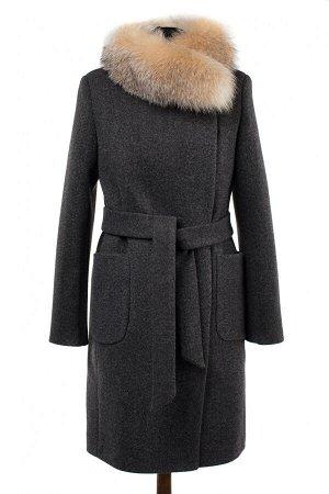 02-2614 Пальто женское утепленное (пояс) валяная шерсть темно-серый