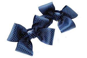 Бант для волос Александра синий с горохом