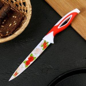 """Нож кухонный с антиналипающим покрытием """"Райский сад"""" лезвие 12,5 см, цвет красный"""