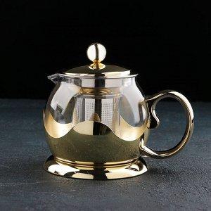 Чайник заварочный «Роскошь», 800 мл, 17?12?13,5 см, цвет золото