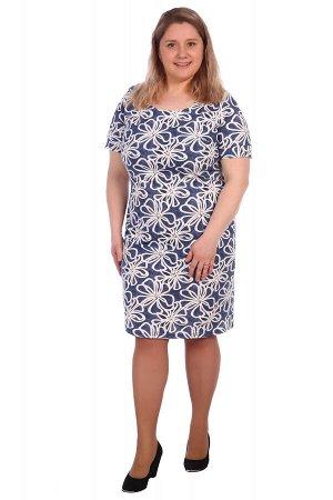 Платье хлопок 100% Описание: Платье женское прямого силуэта, рукава короткие втачные с манжетом.