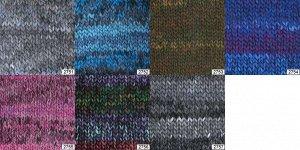 AURORA Aurora - это толстая пряжа с фантазийным крашением. Связанное изделие получается объемным и теплым, а рисунок выглядит как разноцветные полосы. Подходит для вязания шапок, шарфов, снудов, пальт