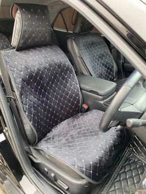 Накидки на сиденья премиум Алькантара полный комплект черный с серой строчкой