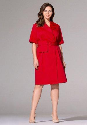 Платье с накладным карманом, цвет красный