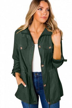 Темно-зеленая куртка-жакет на пуговицах и с карманами