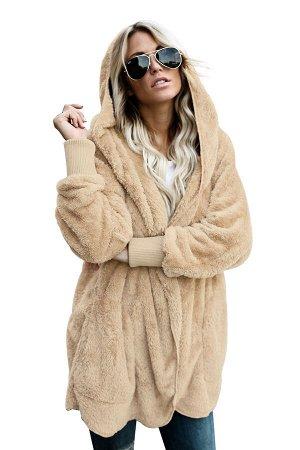 Бежевая флисовая куртка-худи в стиле оверсайз без застежки и с карманами