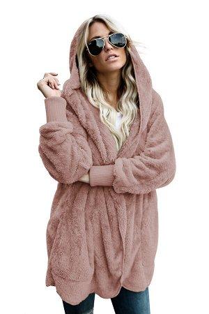 Розовая флисовая куртка-худи в стиле оверсайз без застежки и с карманами