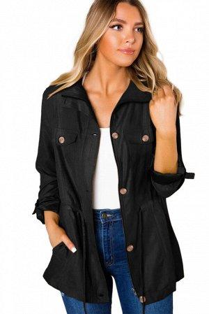 Черная куртка-жакет на пуговицах и с карманами