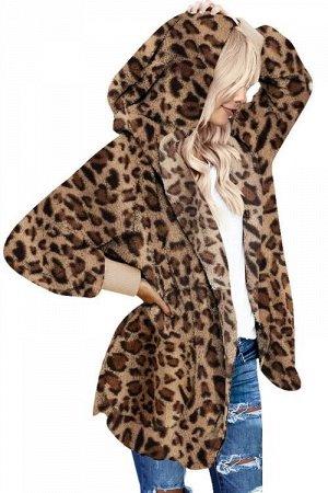 Леопардовая флисовая куртка-худи в стиле оверсайз без застежки и с карманами