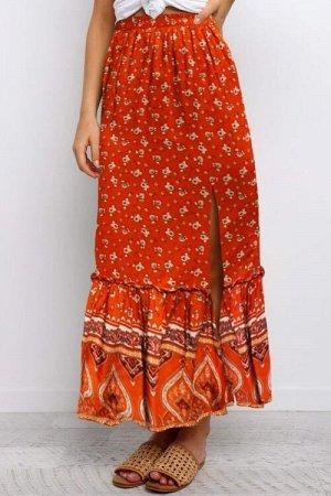 Коралловая макси юбка с цветочным принтом и воланом снизу