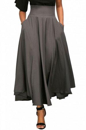 Серая расклешенная макси юбка с высокой талией и поясом-бантом в ретро стиле