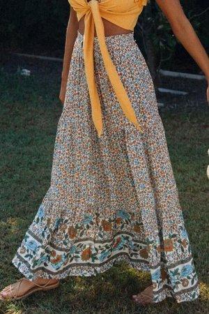 Разноцветная юбка-колокол с цветочным принтом и резинкой сверху