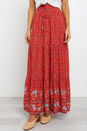 Красная юбка-колокол с цветочным принтом и резинкой сверху