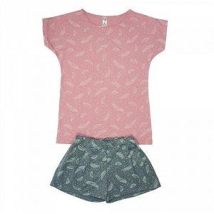 Костюм женский (футболка и шорты) Sova & Javoronok, Перья розовые