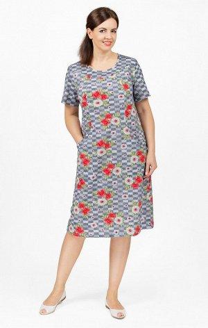 Платье трикотажное с карманами, красный (640-2)