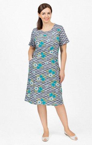 Платье трикотажное с карманами, бирюза (640-1)