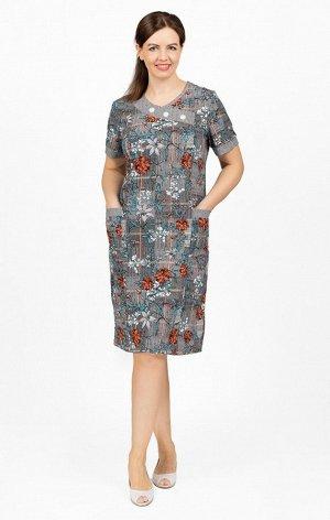 Платье трикотажное, цветы (639-4)