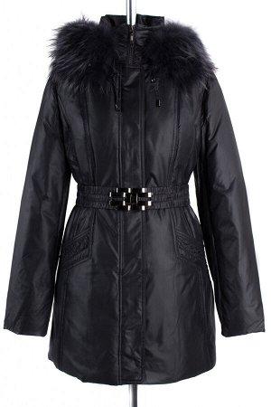 05-1365 Куртка зимняя (пояс) Плащевка черный