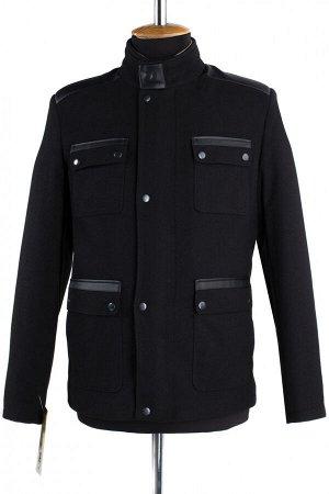 06-0143 Пальто мужское демисезонное (Рост 182) Диагональ черный