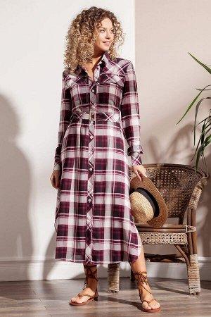 Стильное платье-рубашка из тонкой вискозной ткани