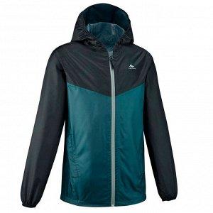 Куртка непромокаемая МН150 для детей 7–15 лет зеленая QUECHUA