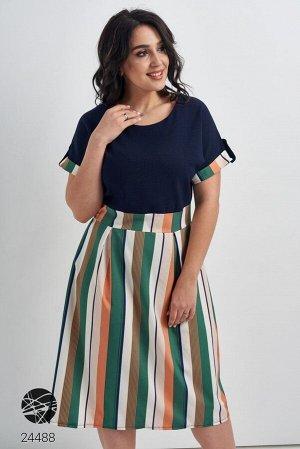Свободное платье с принтом полоску