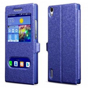 Синий. Чехол книжка 7 с окошками Samsung Galaxy A5 2016/ A510