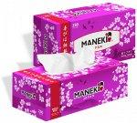 """Салфетки бумажные """"Maneki"""" SAKURA с ароматом сакуры, 2 слоя, белые, 250 шт./коробка, спайка 3 шт"""