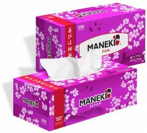 """Салфетки бумажные """"Maneki"""" SAKURA с ароматом сакуры, 2 слоя, белые, 250 шт./коробка"""