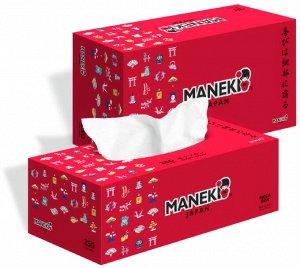 """Салфетки бумажные """"Maneki"""" RED, 2 слоя, белые, 250 шт./коробка"""