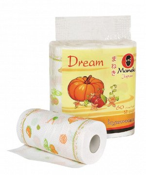 """Полотенца кухонные бумажные """"Maneki"""", серия Dream, 2 слоя, 60 л., с рисунком, 2 рулона/упаковка"""