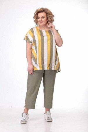Костюм Костюм Bonna Image 510  Состав: Блуза: Спандекс-14%; Хлопок-86%; Капри: Вискоза-24%; ПЭ-71%; Спандекс-5%; Сезон: Лето Рост: 164  Летний женский комплект состоит из блузона и брюк - капри. Блуз