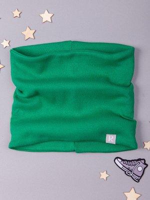 Снуд трикотажный детский, нашивка RusBubon, зеленый