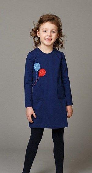 Платье Платье для девочек с карманами Гребенная кулирная гладь, 92% хлопок, 8% лайкра Кулирка