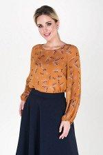 Блузка Арабелла №3.Цвет:горчичный/веточки