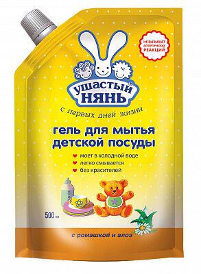 УШАСТЫЙ НЯНЬ Гель для мытья детской посуды 500мл ДойПак/12/ 06548