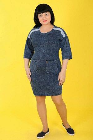 Синий Примечание: замеры длин соответствуют размеру 54. Длина платья: 97 см. Длина рукава: 38 см. Подкладка: нет. Застежка: нет. Карманы: есть, два функциональных. Декор: пуговицы, металлическое украш
