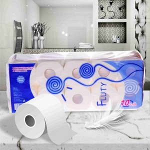 """Fluty"" (blue) Двухслойная туалетная бумага 10 рулонов"