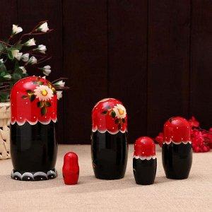 Матрешка «Ягоды», красный платок-черная, 5 кукольная, 17х9 см