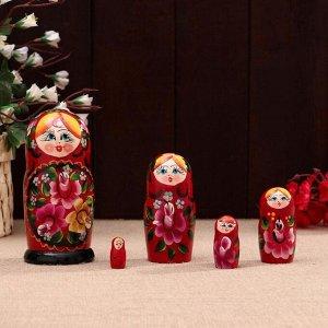 Матрешка «Поднос», бордовая, 5 кукольная, 15х7,5 см