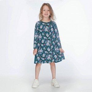 Платье для девочки, зелёный набивка цветы