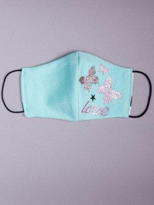 Маска детская с карманом двухслойная из трикотажного полотна профилактическая, бабочки, бирюзовый