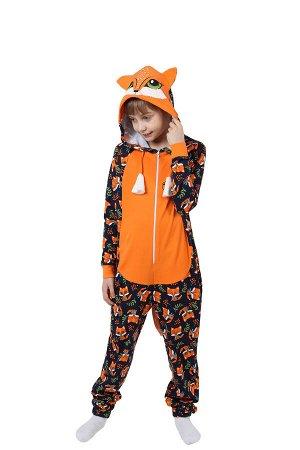 Детская пижама-кигуруми Лиса Цвет Оранжевый.