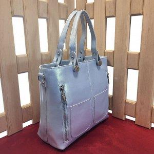 Классическая сумка Mirrow из высококлассной натуральной кожи жемчужно-небесного цвета с легким перламутром