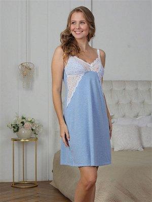 Сорочка для кормления Olivia голубой меланж  (хлопок 55%;РЕ 30% РА 10%, лайкра 5%)